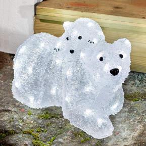 LED-Acryl-Eisbären Mutter mit Kind tageslicht