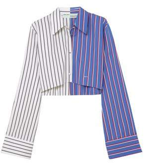 Off-White Off WhiteTM Cropped Striped Cotton-twill Shirt