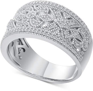 Macy's Diamond Vintage-Inspired Statement Ring (1/5 ct. t.w.) in Sterling Silver