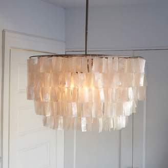 west elm Round Capiz Chandelier - White