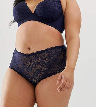 City Chic Jude lace shorty brief in navy