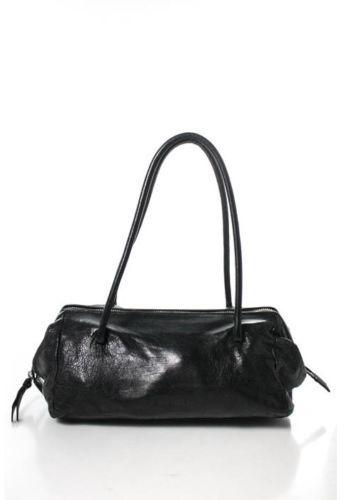 Miu MiuMIU MIU Black Leather Silver Tone Double Strap Small Shoulder Handbag