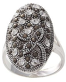 JCPenney Silver-Plated Crystal & Marcasite Oval Ring