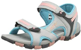 Hi-Tec Girls' GT Strap Junior Hiking Sandals, (Cool Grey/Curacao Blue/Papaya Punch 053), 38 EU