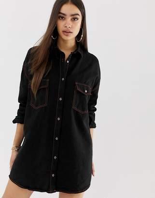 Missguided contrast stitch mini denim shirt dress in black