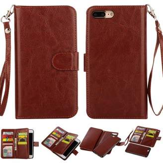 HLC 2 in 1 Leather Wallet Case with 9 Credit Card Slots and Removable Back Cover for iPhone 8/7 Plus -Brown