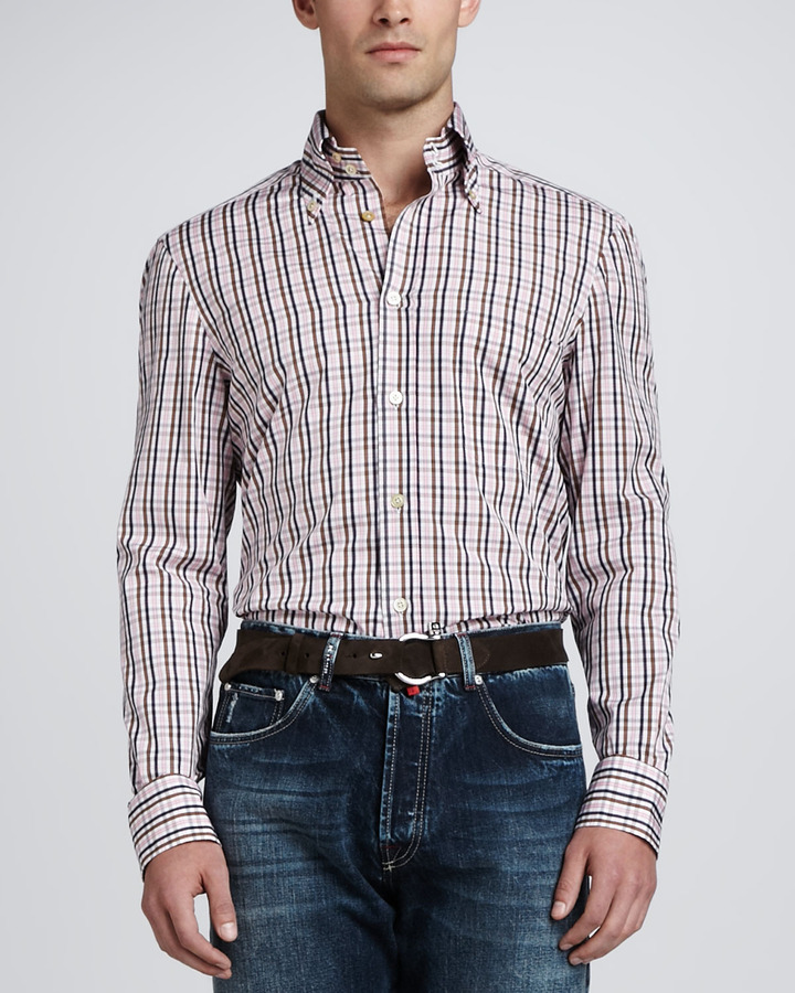 Kiton Check Sport Shirt, Pink/Brown