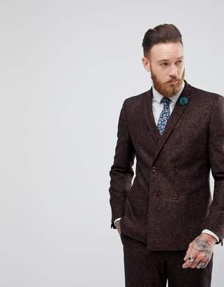 Asos Skinny Double Breasted Suit Jacket In Wine Flecked Wool Blend