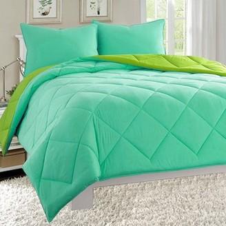 Elegant Comfort Close Out Deal , 3pc Comforter Set-King/Cal King, Aqua/Lime