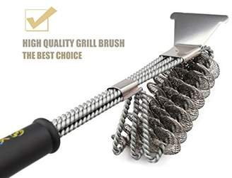 JiazuGo Grill Brush With Scraper- Rust Resistant Stainless Steel Barbecue Grill Cleaner