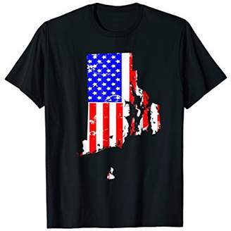 July 4th Shirt For Men-Rhode Island American Pride Flag Tee