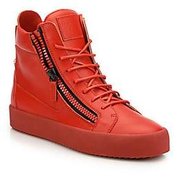 Giuseppe Zanotti Men's Double Zip Leather High-Top Sneakers