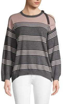 Brunello Cucinelli Striped Cold-Shoulder Cashmere Sweater