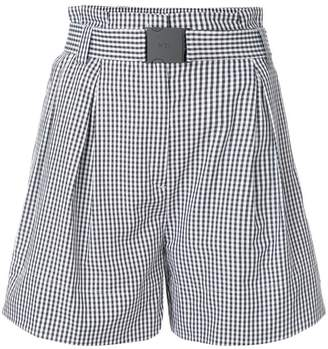 No.21 flared checked shorts