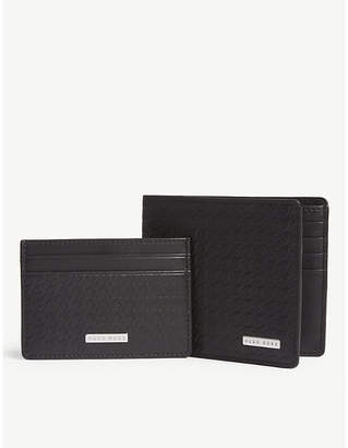 BOSS Doogtooth embossed leather wallet and cardholder
