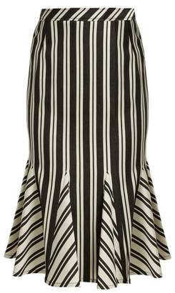Altuzarra Crocus Striped Wool Blend Skirt - Womens - Black Stripe