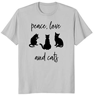 Peace Love and Cats t-shirt for cat people who love cats
