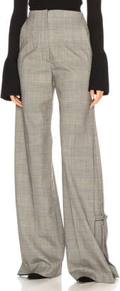 Proenza Schouler Plaid Wool Wide Leg Trousers