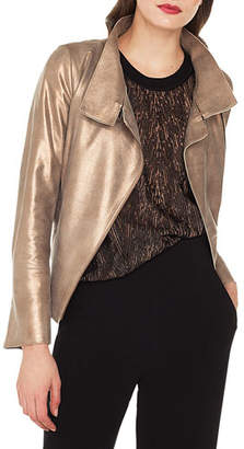 Akris Ranka Zip-Front Metallic Lamb Suede Jacket