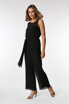 Wallis PETITE Black Pleated Sleeveless Jumpsuit