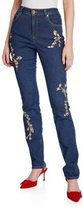 Escada J659 Floral Embellished High-Waist Jeans