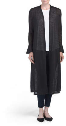 Bell Sleeve Open Front Long Duster