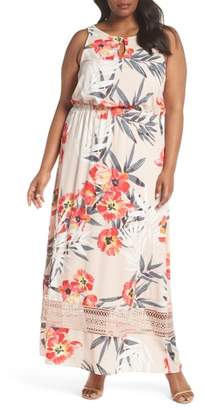 Adrianna Papell Tropical Breeze Floral Maxi Dress