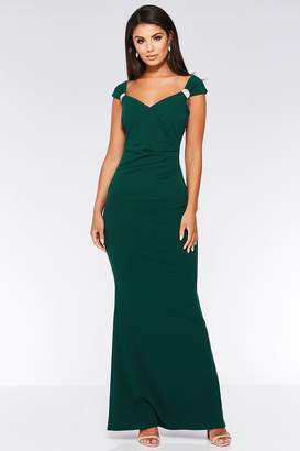 Quiz Emerald Brooch Wrap Maxi Dress