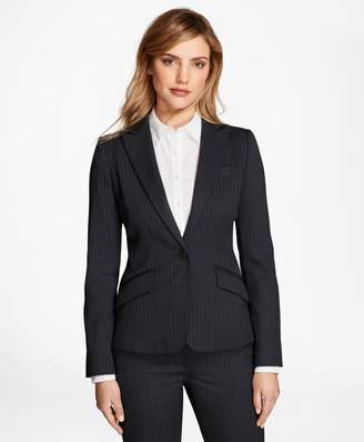Brooks Brothers Petite Pinstripe Stretch-Wool Jacket