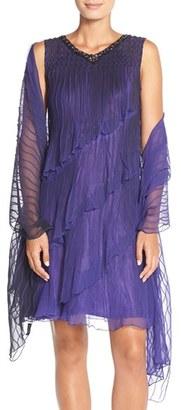 Women's Komarov Tiered Chiffon Shift Dress & Shawl $398 thestylecure.com