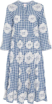 Nimo with Love Gingham Floral Cotton Midi Dress