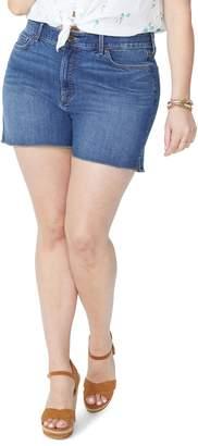 NYDJ High Rise Side Slit Fray Hem Denim Shorts