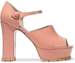 RED Valentino Patent-Leather Mary Jane Platform Sandals