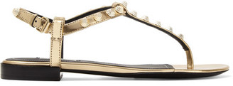 Balenciaga - Metallic Studded Leather Sandals - Gold $495 thestylecure.com