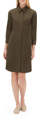 Lafayette 148 New York Peggy 3/4-Sleeve Italian Pima Cotton Bi-Stretch Shirt Dress