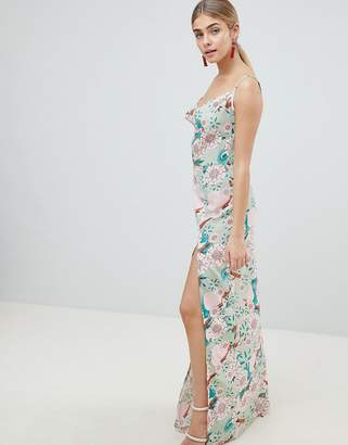 PrettyLittleThing Floral Maxi Dress With Side Split