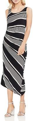 Vince Camuto Venue Block Stripe Ruched Midi Dress
