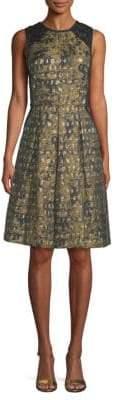 Carmen Marc Valvo Brocade A-Line Dress