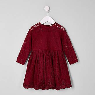 River Island Mini girls burgundy lace skater dress