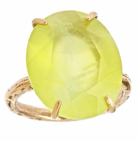 Raw Jewelry by JLRicci Oval Yellow Prehnite Cocktail Ring