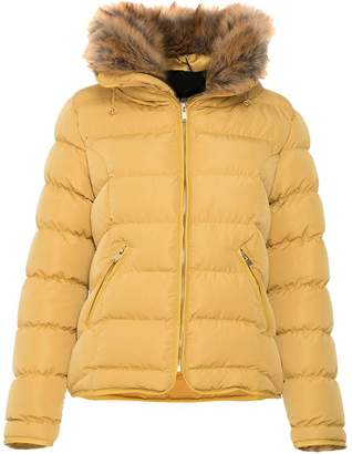 Quiz Mustard Padded Faux Fur Trim Jacket