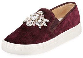 Badgley Mischka Barre Jeweled Velvet Slip-On Sneakers