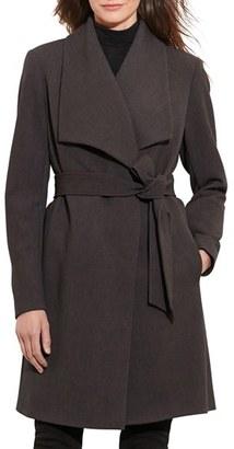 Women's Lauren Ralph Lauren Belted Drape Front Coat $230 thestylecure.com