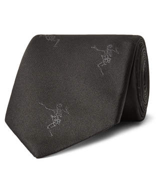 Alexander McQueen 7cm Embroidered Silk-Faille Tie