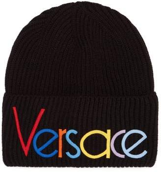 Versace Vintage Logo Knit Beanie Hat - Mens - Black Multi