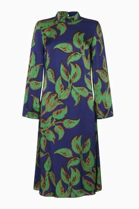 Next Womens Ghost London Blue Printed Maya High Neck Satin Dress