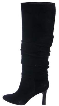 Manolo Blahnik Knee-High Ruched Boots Black Knee-High Ruched Boots