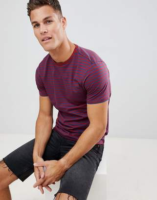 New Look t-shirt with stripe in burgundy