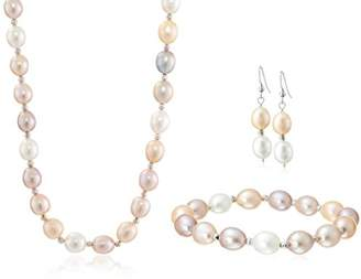 Sterling Silver 9-9.5mm Multi-Pink Freshwater Cultured Pearl Necklace