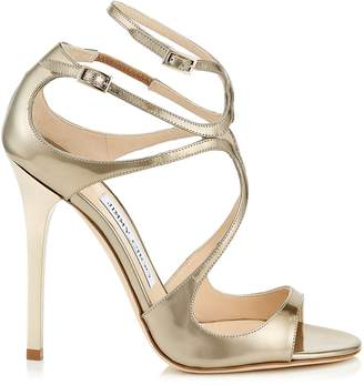 Jimmy Choo LANCE Gold Liquid Mirror Leather Sandals